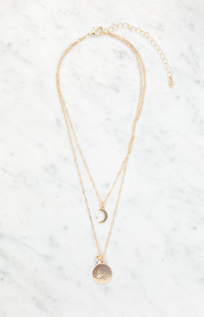 Gem & Moon Necklace Set