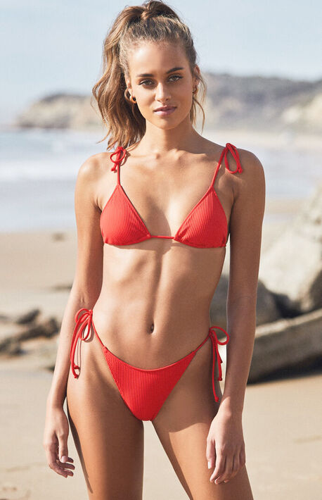 Red Playa Side Tie Bikini Bottom