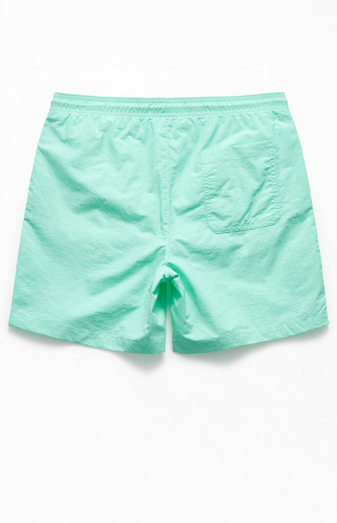 "Mint Solid 17"" Swim Trunks"