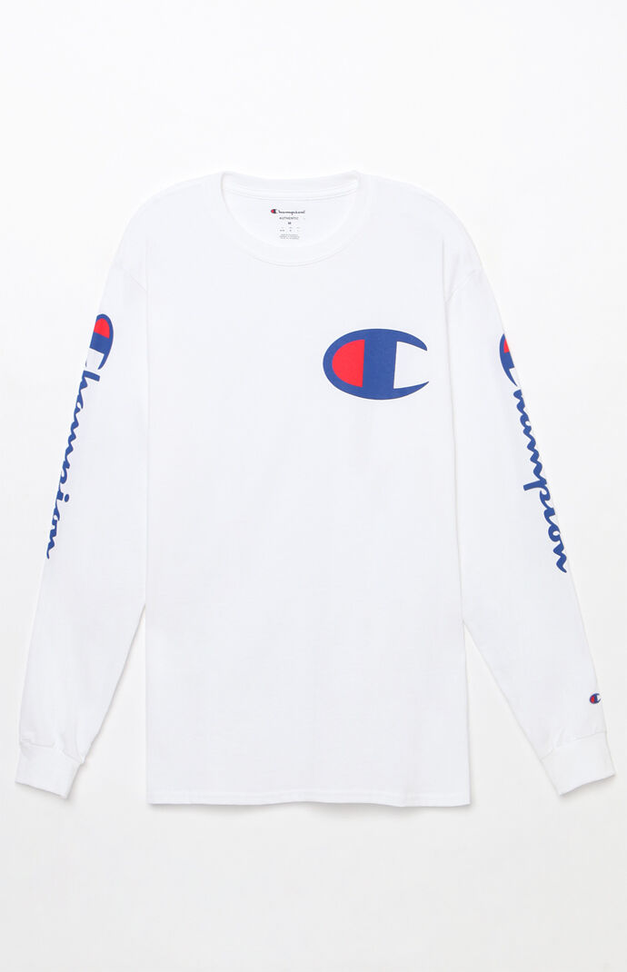 Champion Mens Script White Long Sleeve T-Shirt 8183048
