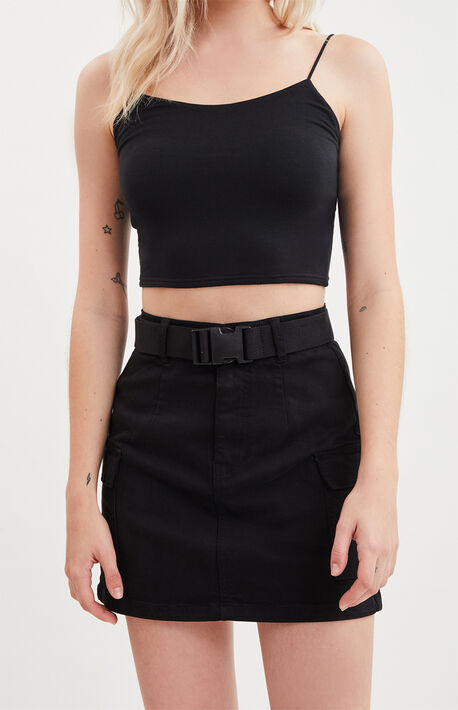 Black Stretch Belted Cargo Skirt