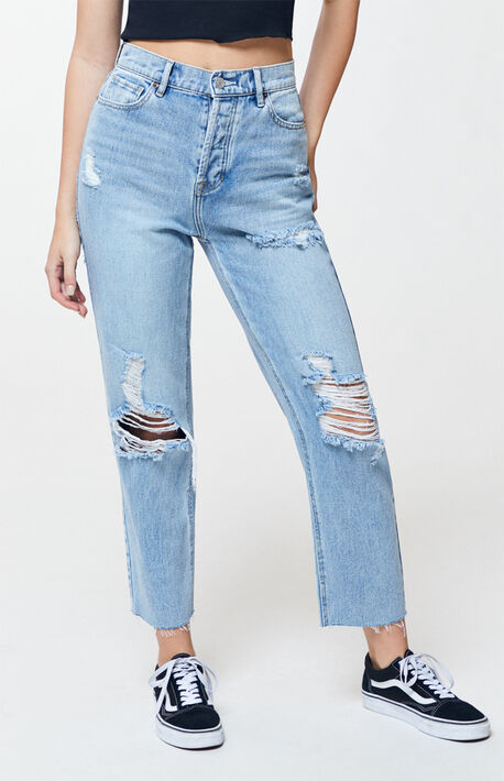 b93aadb612b75 Terra Blue High Waisted Straight Leg Jeans
