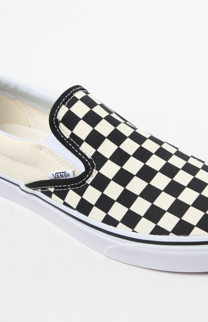 Classic Checkerboard White & Black Slip-On Shoes