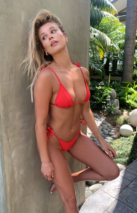 Red Playa Printed Triangle Bikini Top