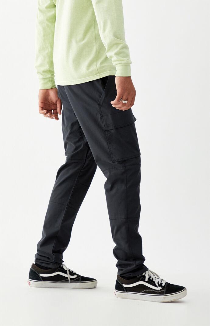 Utility Black Nylon Slim Cargo Pants