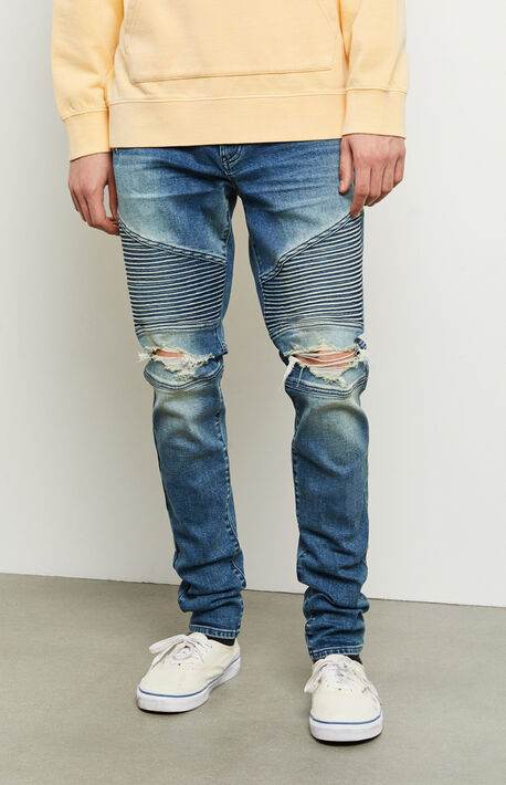 Bryson Medium Moto Ripped Stacked Skinny Jeans