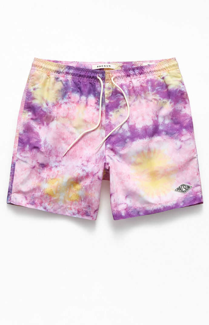 "Tie-Dyed Sunset Clouds 17"" Swim Trunks"