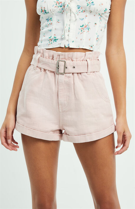 Nude Pink Paperbag Waist Denim Mom Shorts
