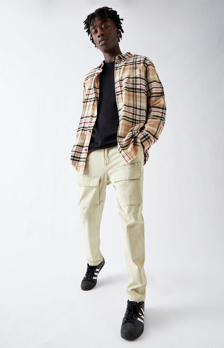 Utility Beige Front Pocket Slim Cargo Pants