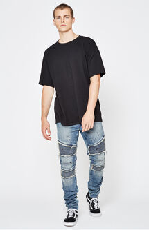Stacked Skinny Comfort Stretch Moto Paint Indigo Jeans