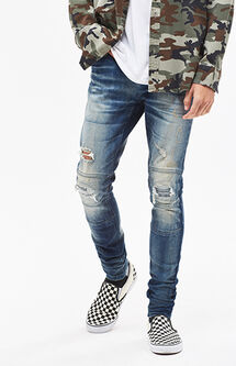 Stacked Skinny Active Stretch Moto Dark Tint Jeans