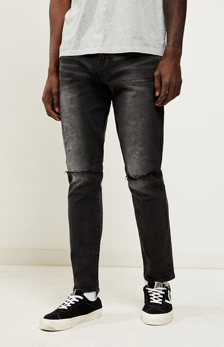 c0242fad7f9d Black Ripped Slim Taper Jeans