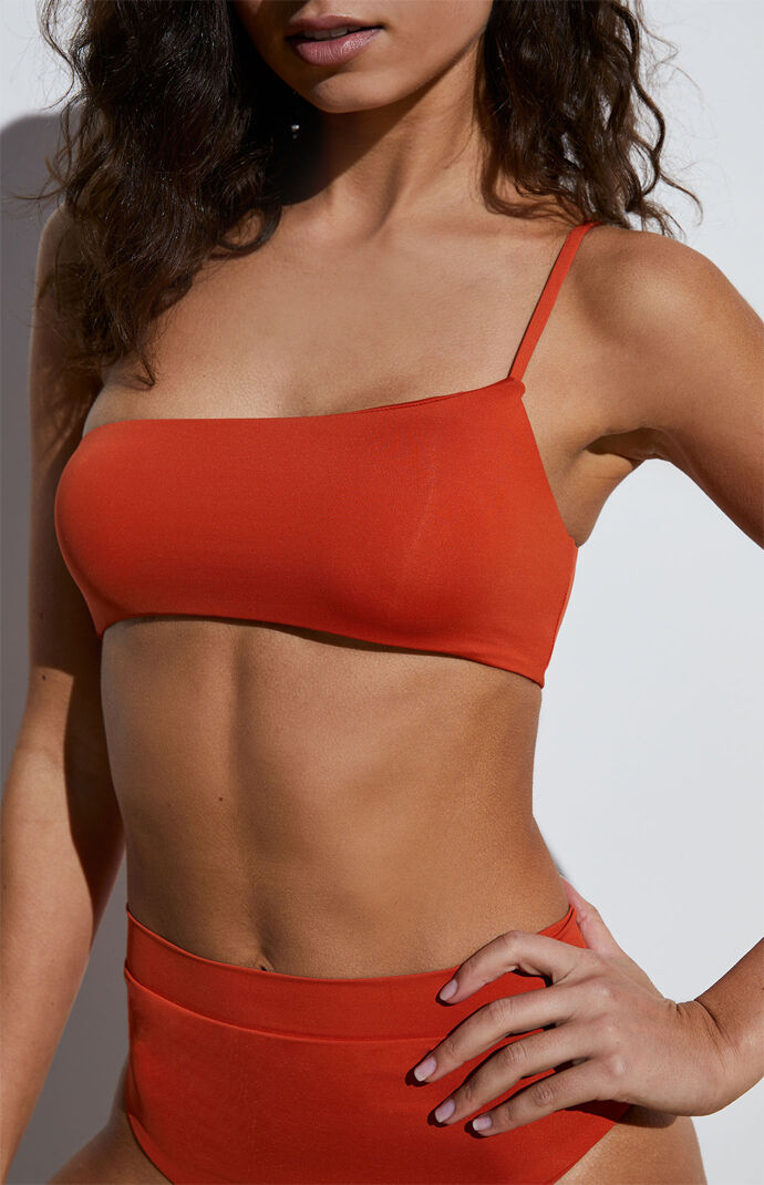Eco Burnt Orange Sig One Shoulder Bikini Top