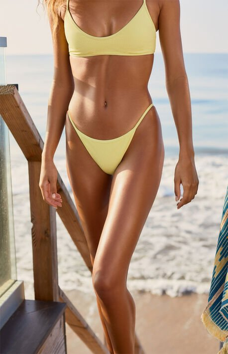 Yellow Madi Binded Ribbed Bikini Bottom