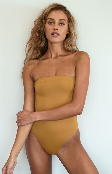 Light Brown Tube One Piece Swimsuit