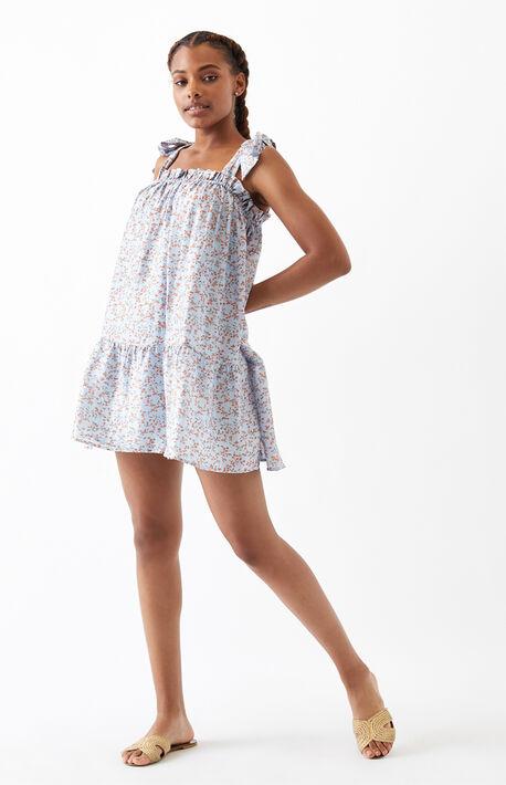 Ruffle Tie Shoulder Mini Dress