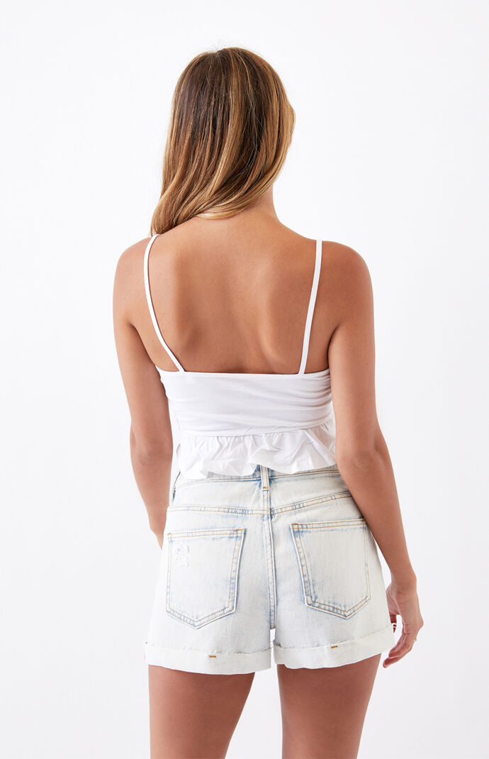 Eyelet Lace-Up Tank Top