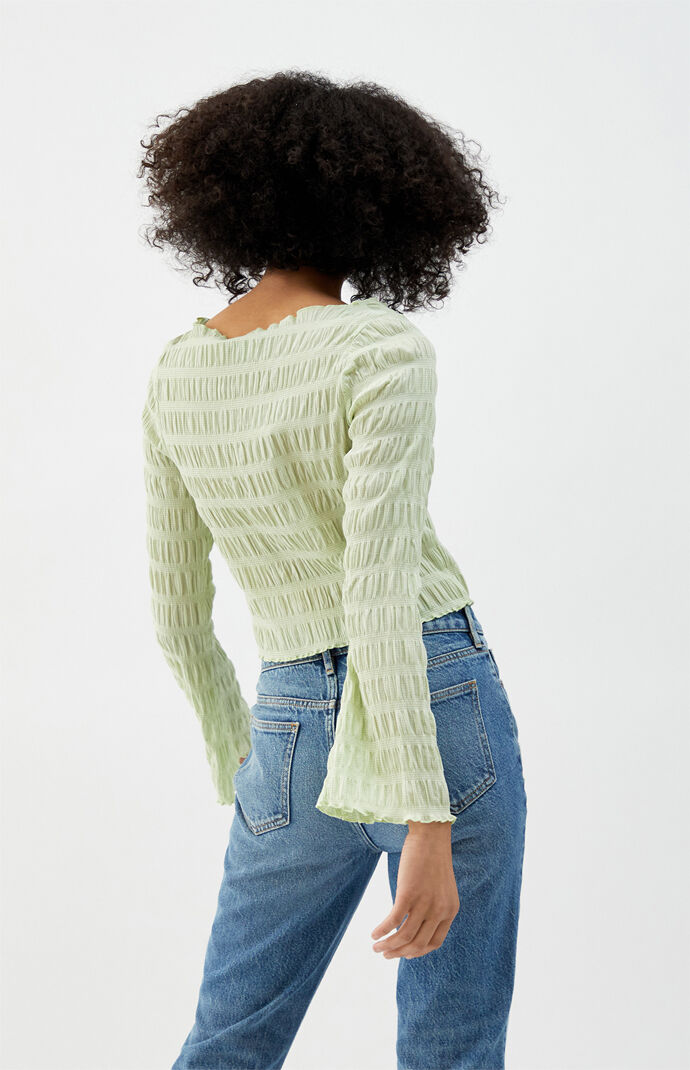 Shirred Long Sleeve Top