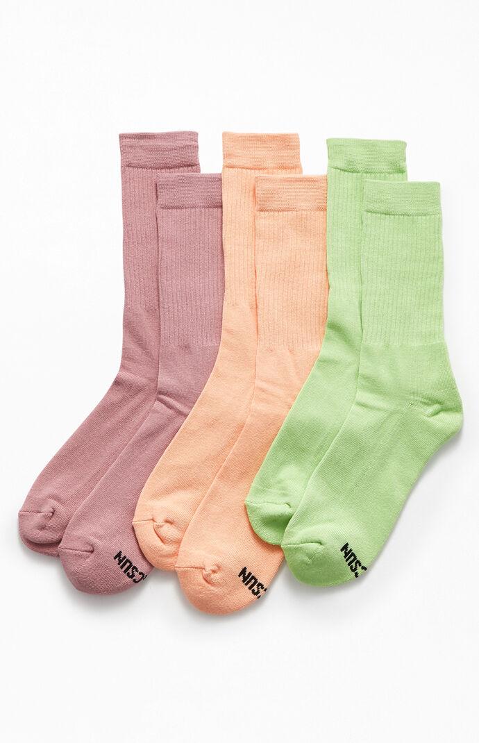 Multi Three-Pack Basic Crew Socks