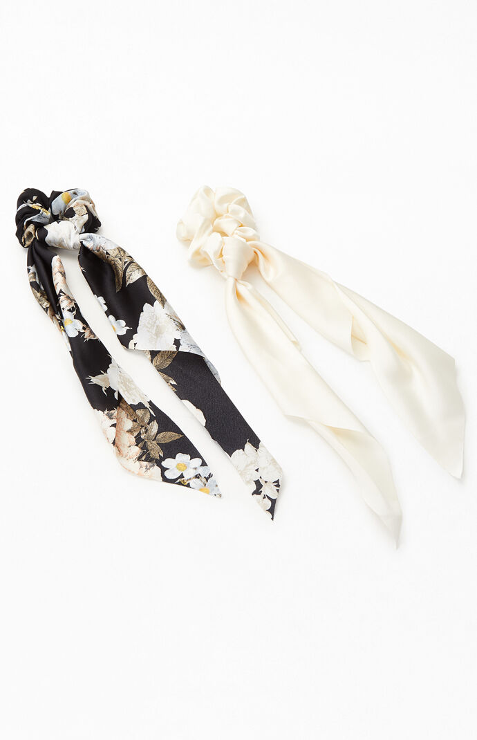 2 Pack Floral Flowy Scrunchies