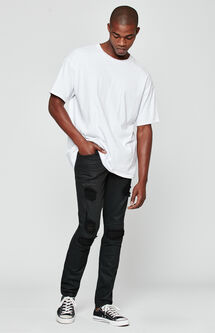 Skinny Comfort Stretch Destroy Coated Black Jeans