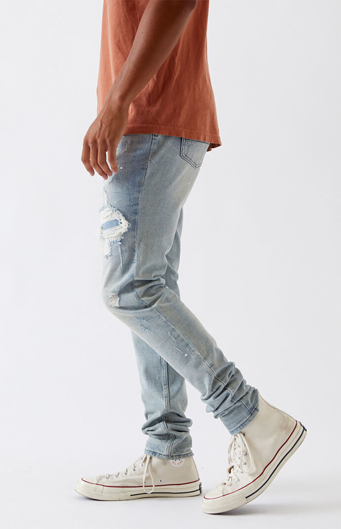 Light Stitch & Repair Stacked Skinny Jeans