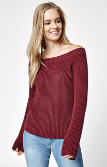 Off-The-Shoulder Bell Sleeve Sweater