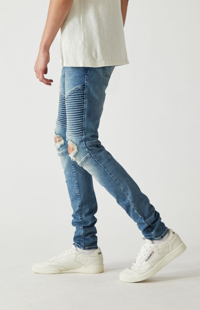 Medium Biker Ripped Stacked Skinny Jeans