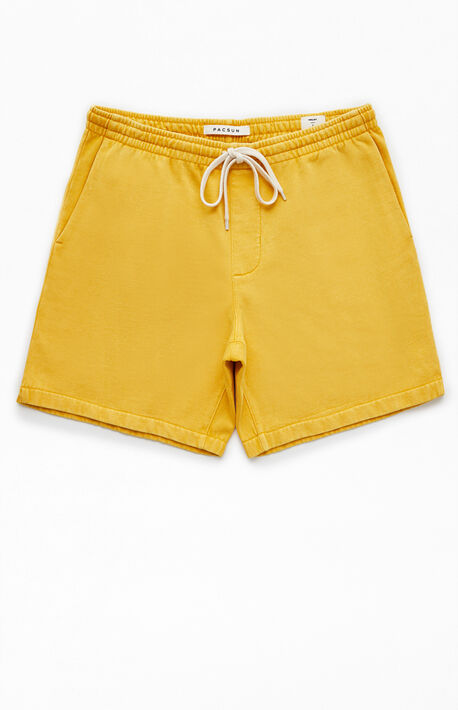 Gold Vintage Wash Fleece Drawstring Volley Shorts