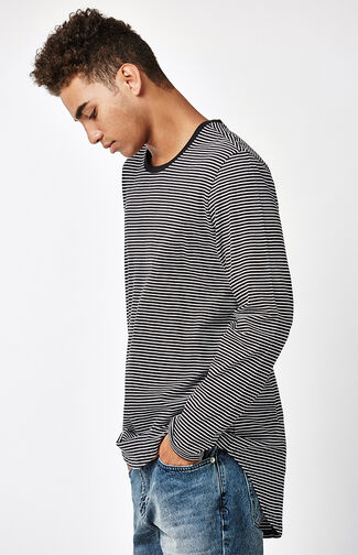 Loup Striped Long Sleeve Extended Length T-Shirt