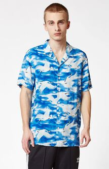 Blue Cranes Short Sleeve Button Up Camp Shirt
