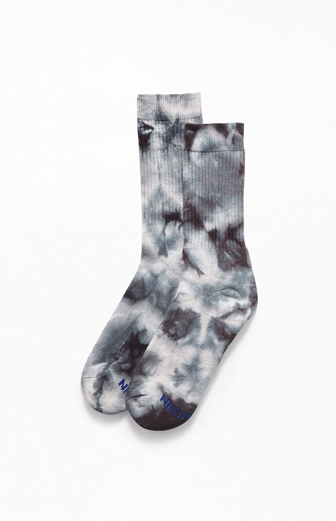 Black Multi Tie-Dyed Crew Socks