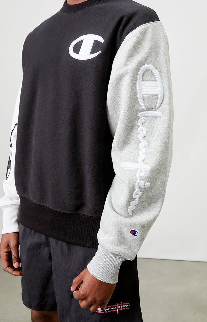 Colorblocked Reverse Weave Crew Neck Sweatshirt