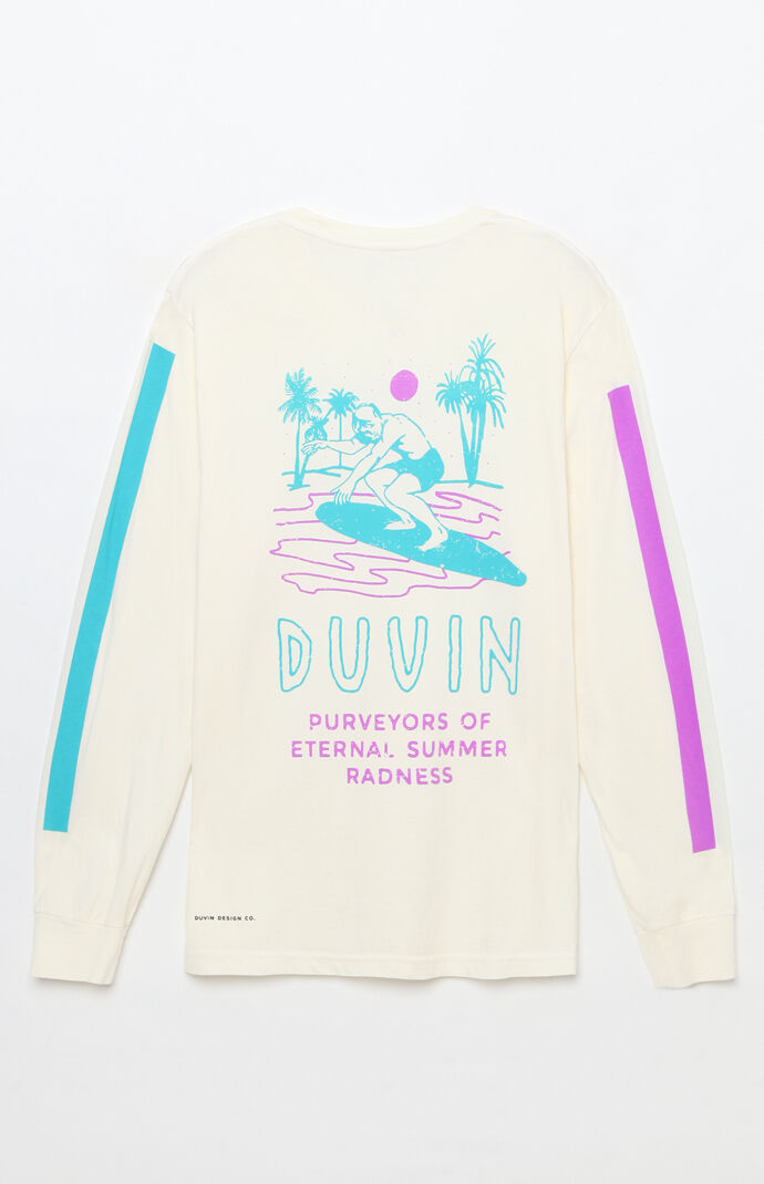 Duvin Design Mens Summer Radness Long Sleeve T-Shirt - White 8022865