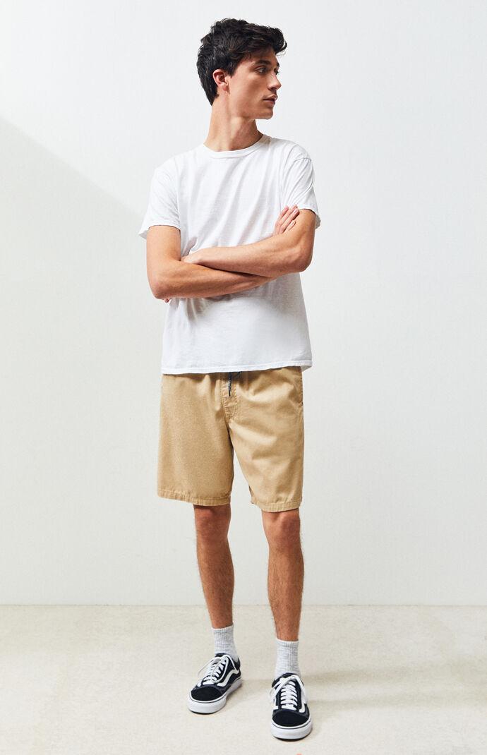 Twill Khaki Drawstring Shorts