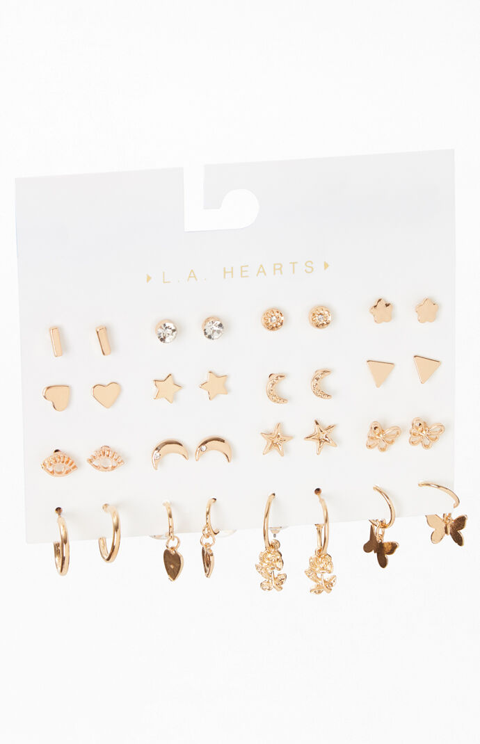 16 Pack Floral Moon Earrings