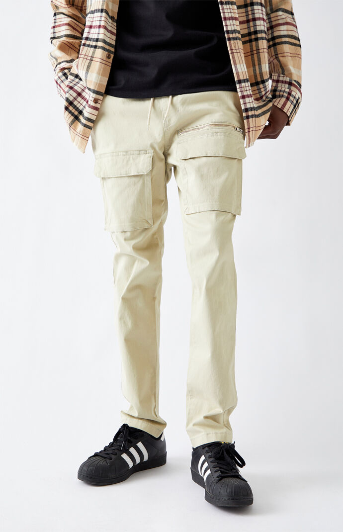 Utility Beige Front Pocket Slim Cargo Pants