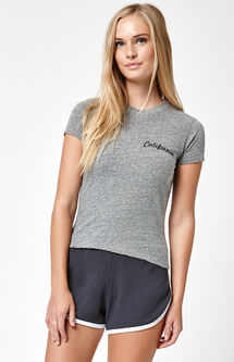 Grey Cali Cropped T-Shirt