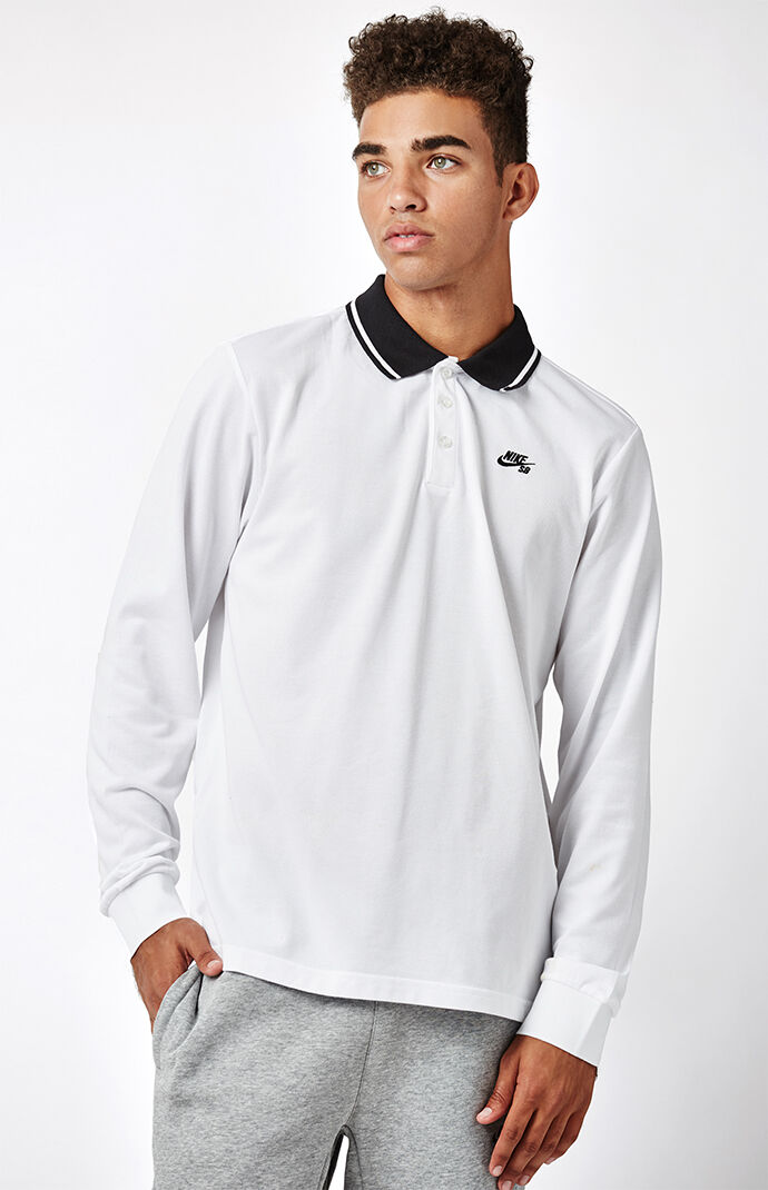 Nike SB Dri-FIT Long Sleeve Polo Shirt - White/black 6846042