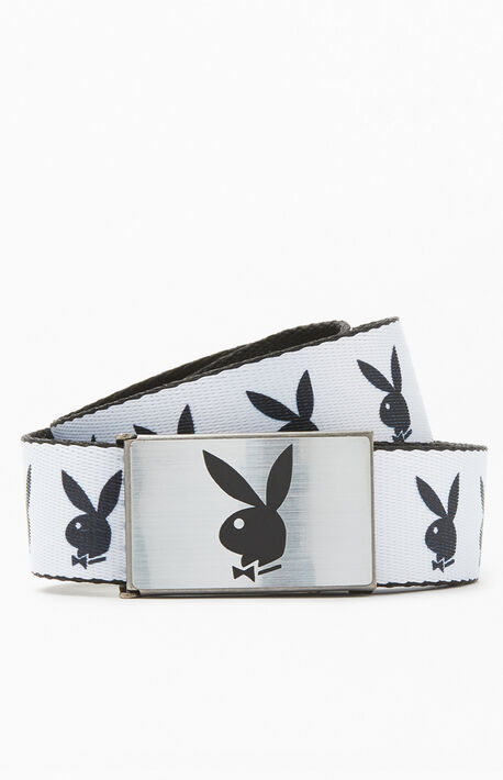 x Playboy White & Black Repeat Bunny Belt