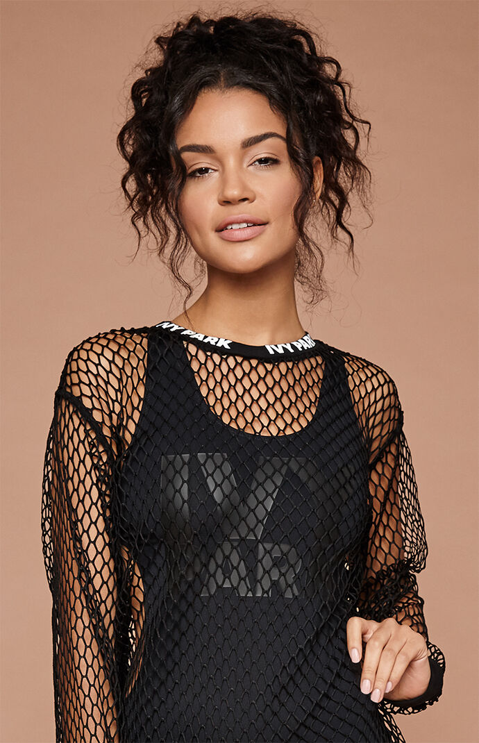 Ivy Park Womens Long-Sleeved Mesh Top - Black 7652621