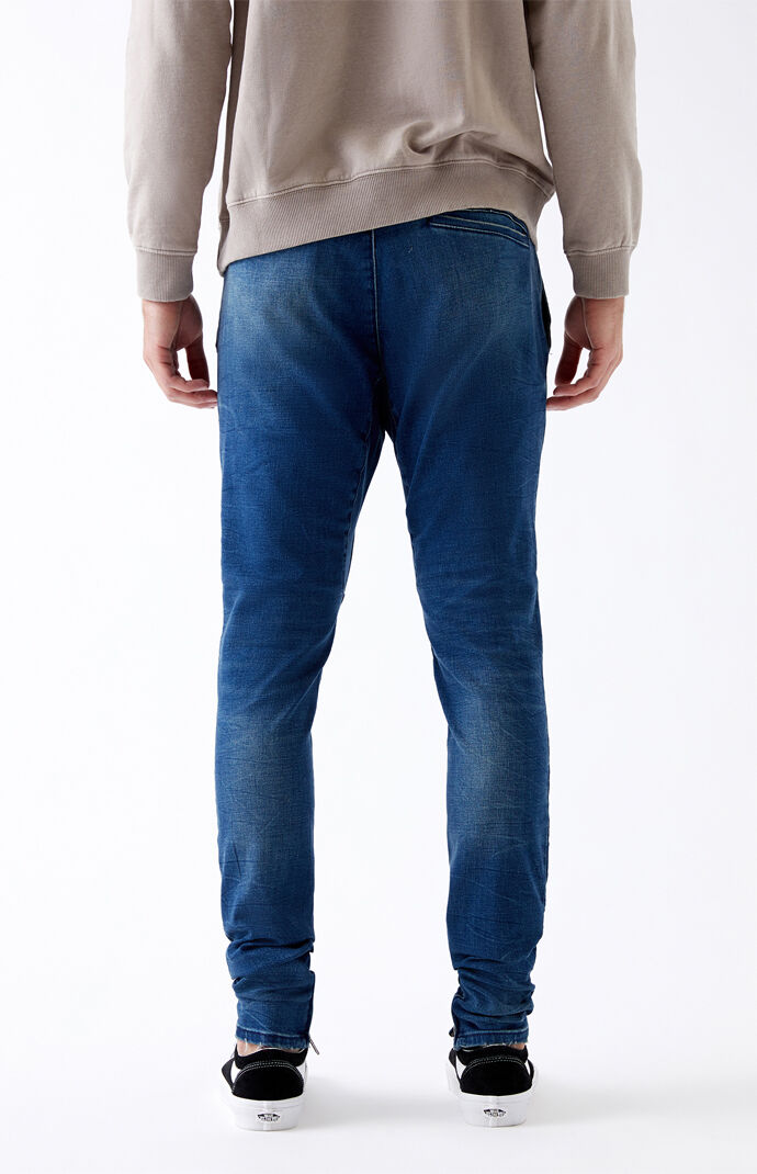 Dark Ripped Drop Skinny Jogger Pants