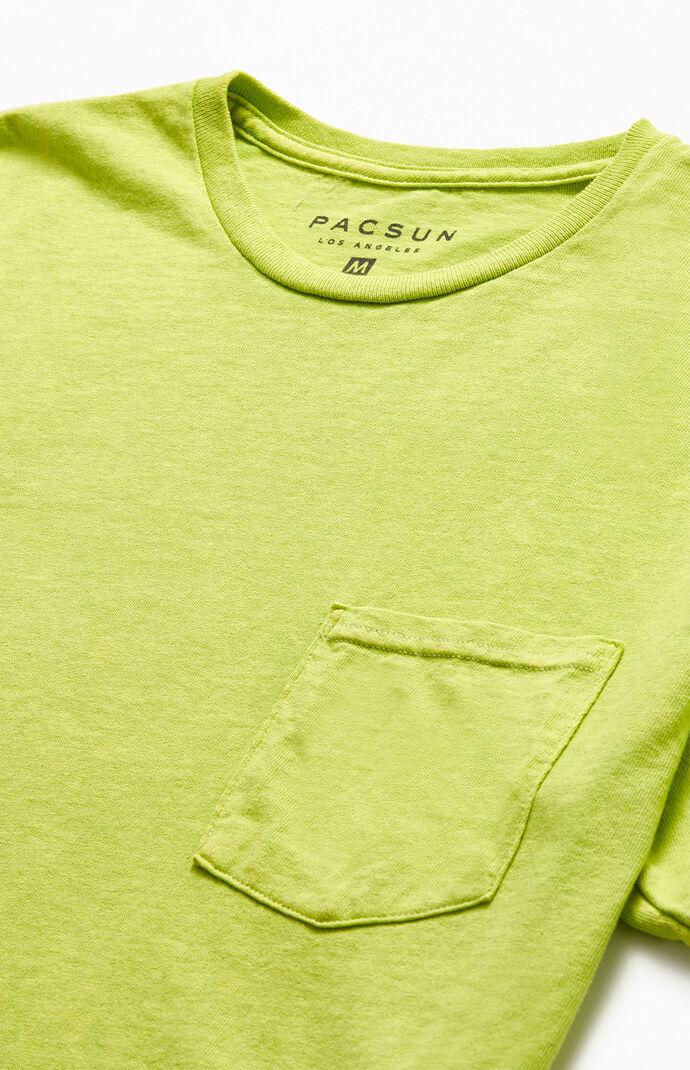 Neon Green Acid Wash Pocket T-Shirt