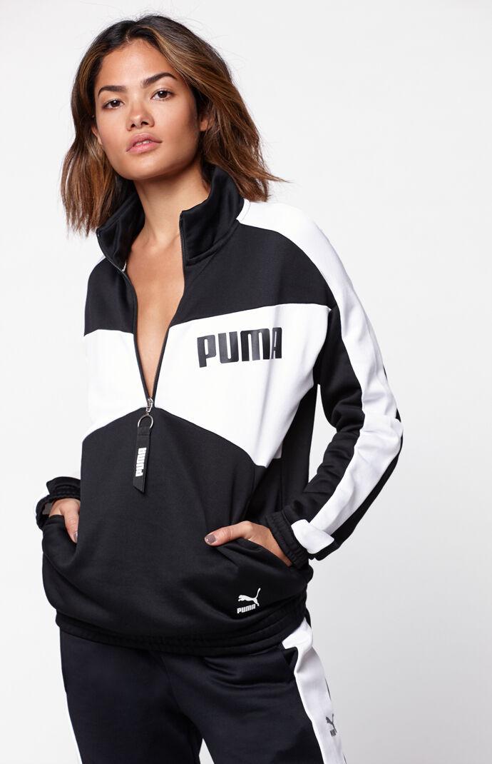 Puma Womens Archive T7 Half Zip Crew Sweatshirt - Black 7582497