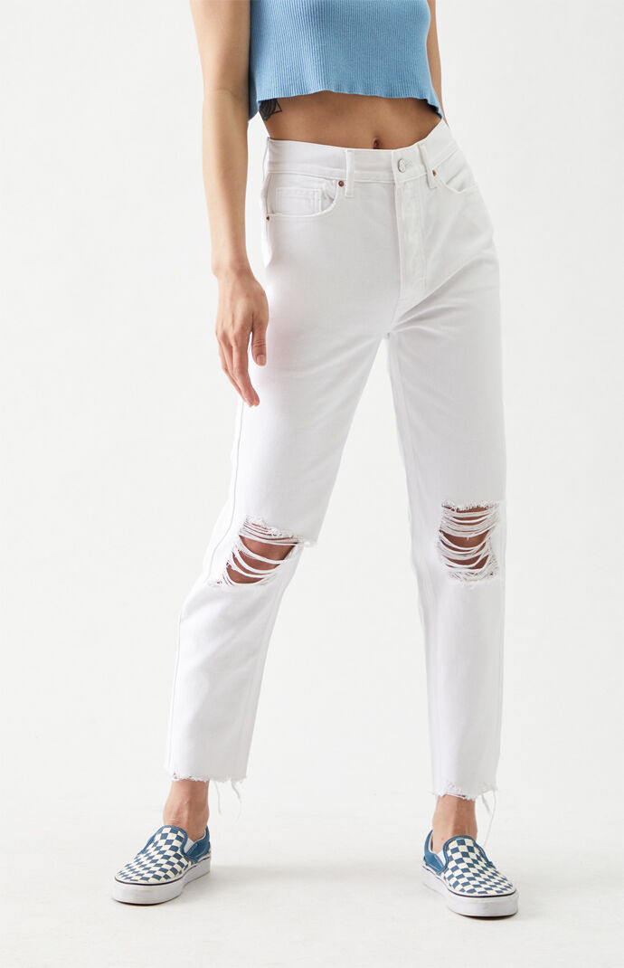 White Ultra High Waisted Slim Fit Jeans