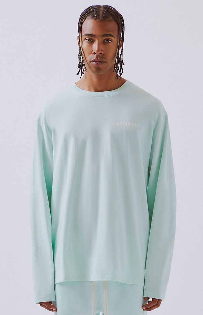 9b86667fc FOG - Fear Of God Essentials Mint Boxy Logo Long Sleeve T-Shirt | PacSun
