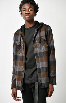 Nevermind Hooded Plaid Flannel Long Sleeve Zip Shirt