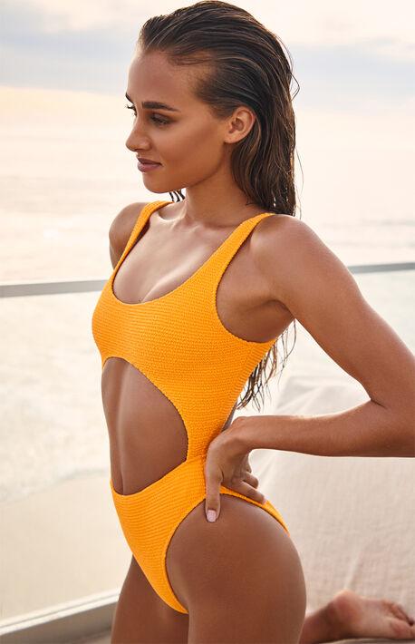 Orange Camila Keyhole Scrunch One Piece Swimsuit