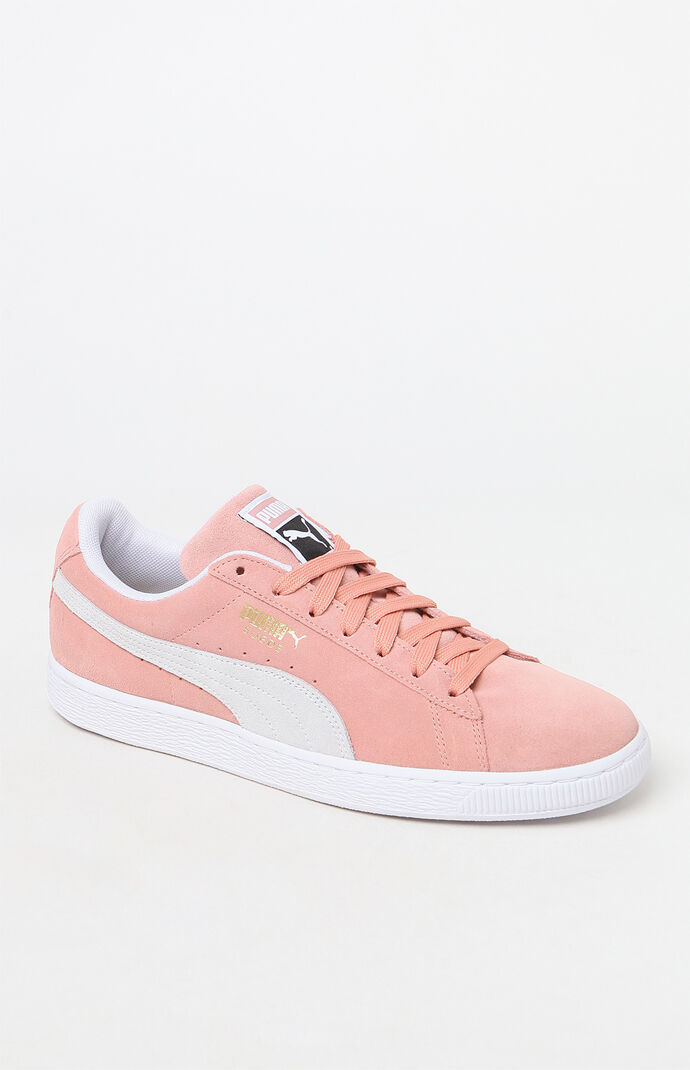 puma pink and white shoes