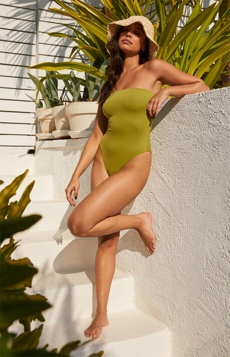 Eco Green Sig Strapless One Piece Swimsuit